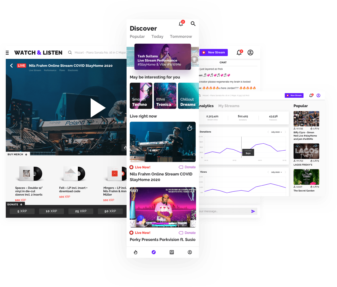 A decentralised streaming platform for live music events.