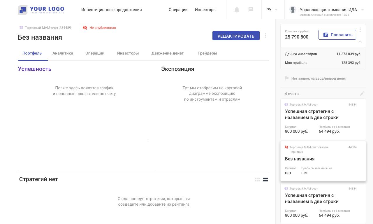 Платформа для инвесторов и трейдеров: экран инвестиционной стратегии | SobakaPav.ru