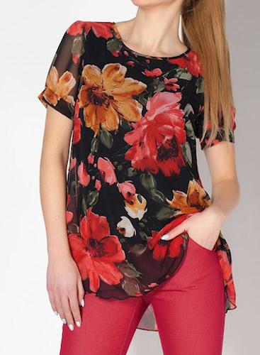 Дамска туника в свободен А силует от черен шифон на големи цветя и хастар.