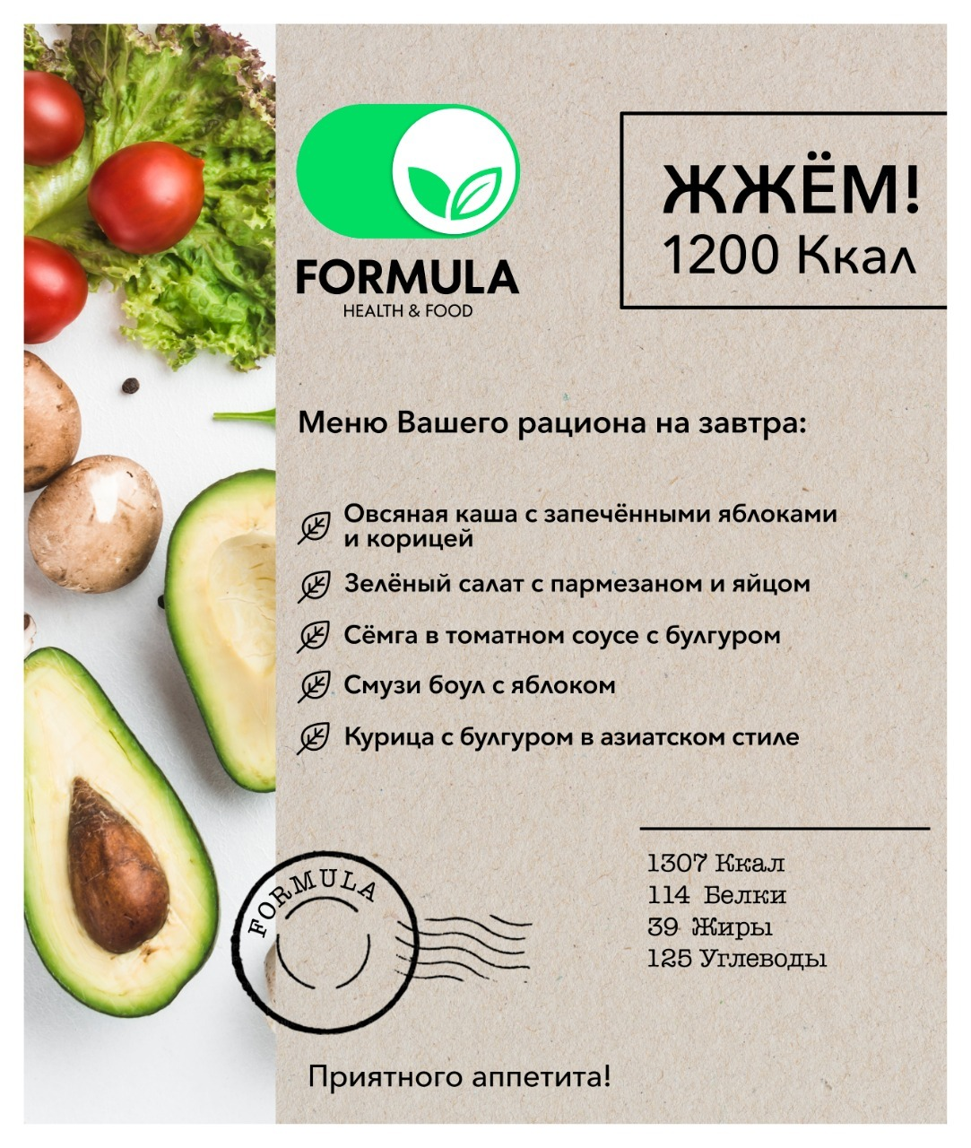 диета на 1200 калорий меню