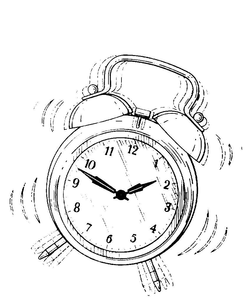 картинка раскраска будильник начинает нереститься