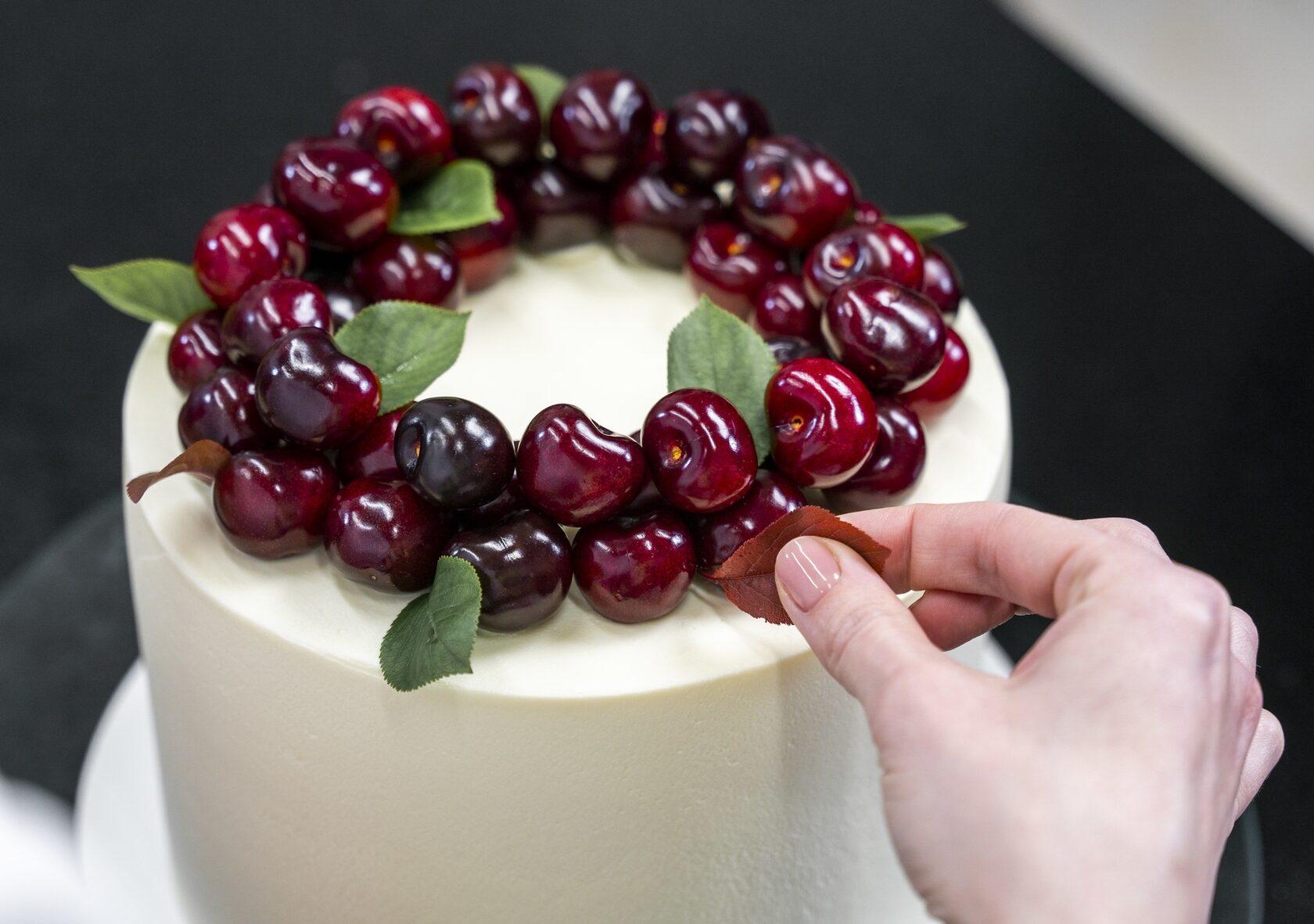 Cherry velvet honey cake decorating