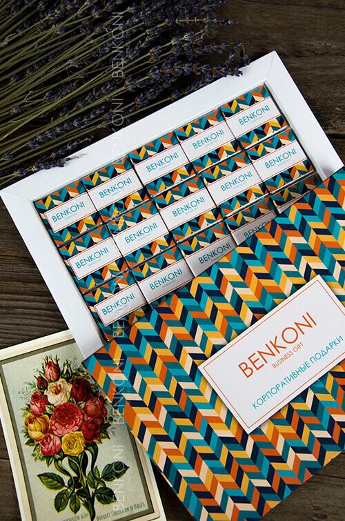 Подарочный набор PICTURE из 15 шоколадных плиток в полноцветной упаковке с логотипом