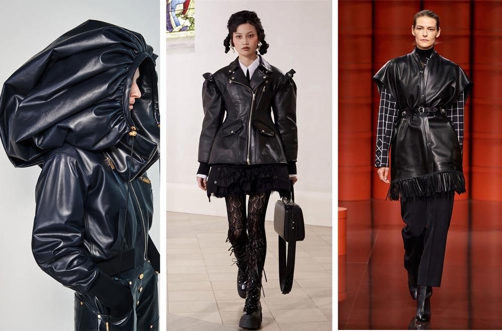 Черната еко кожа ще е топ хит сред тенденции мода есен 2021 и зима 2022. Практични и екстравагантни кожени дрехи, представени във Vogue