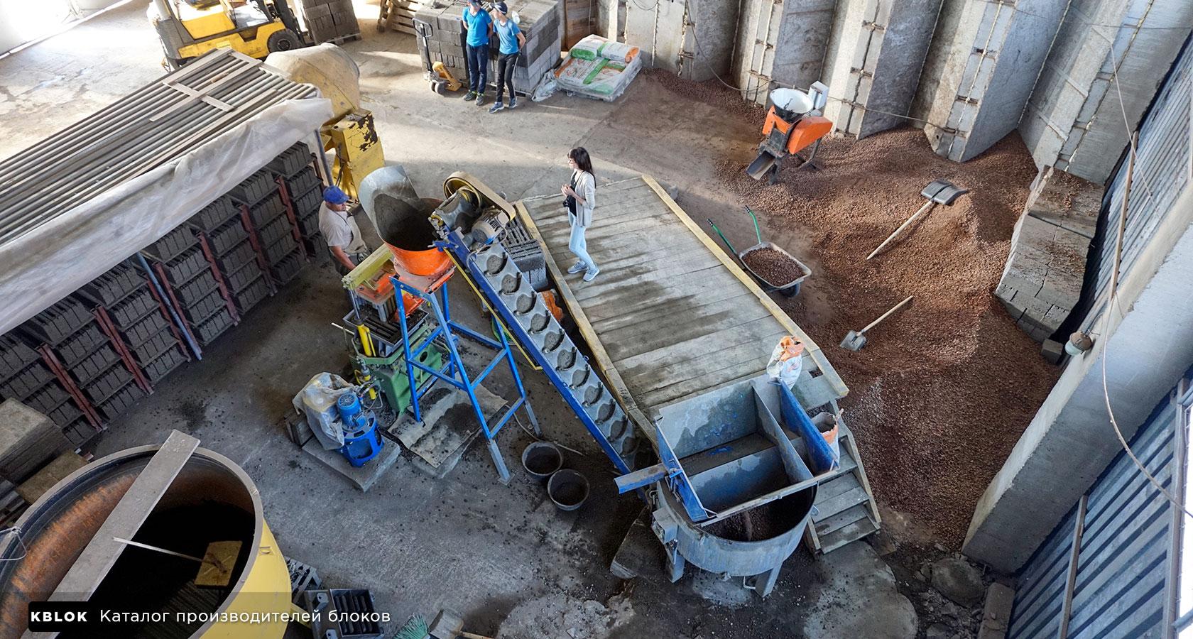 на производстве бетонных изделий, вид сверху