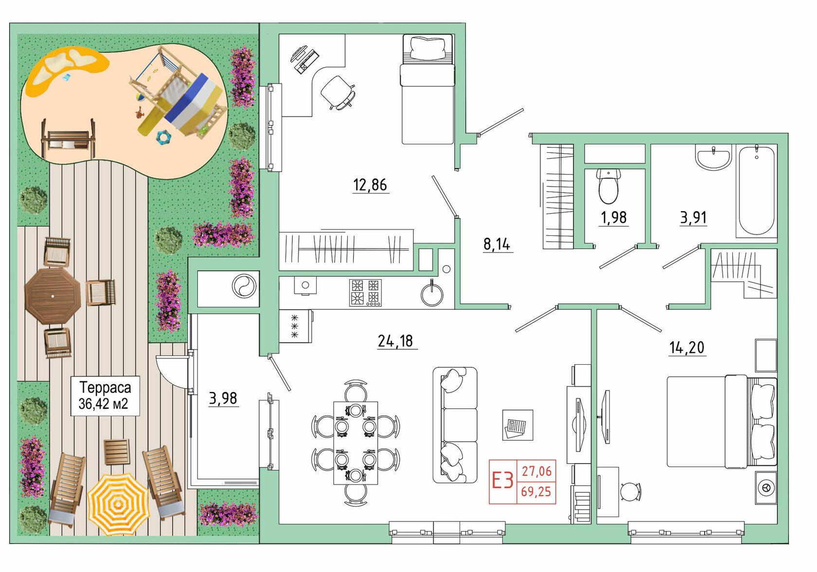 Квартиры с террасой, квартиры с террасами, квартира с террасой, Тула, Капитал, Квартира в ипотеку в Туле, Новостройки Тулы, от застройщика
