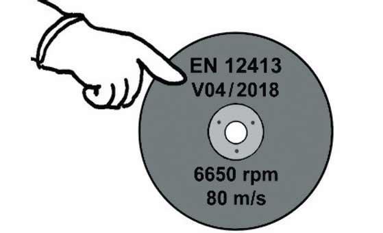 Убедитесь в наличии маркировки EN 12413 и срока годности на абразивном круге.