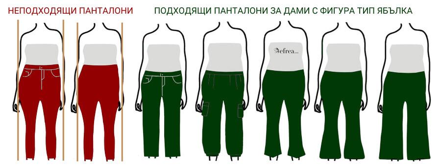 Дамски панталони за фигура тип ябълка с корем и без талия. Разгледай още дамски панталони в големи размери до 4XL от Efrea.