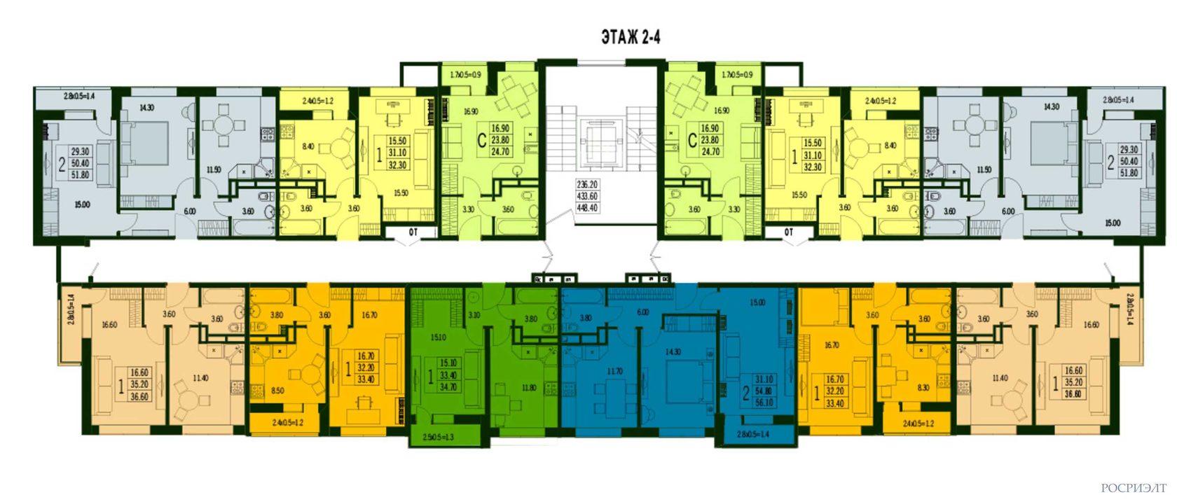 планировки 2-4 этаж ЖК Марсель 2 в Краснодаре