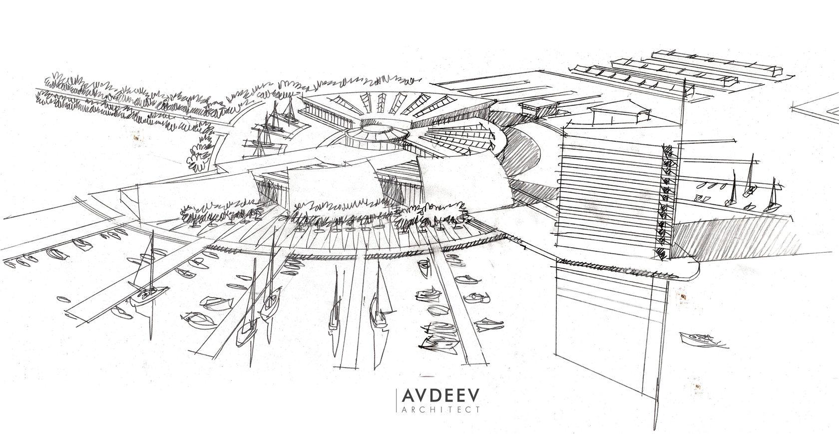дизайн-эскиз центра парусного спорта студия AVDEEV ARCHITECT