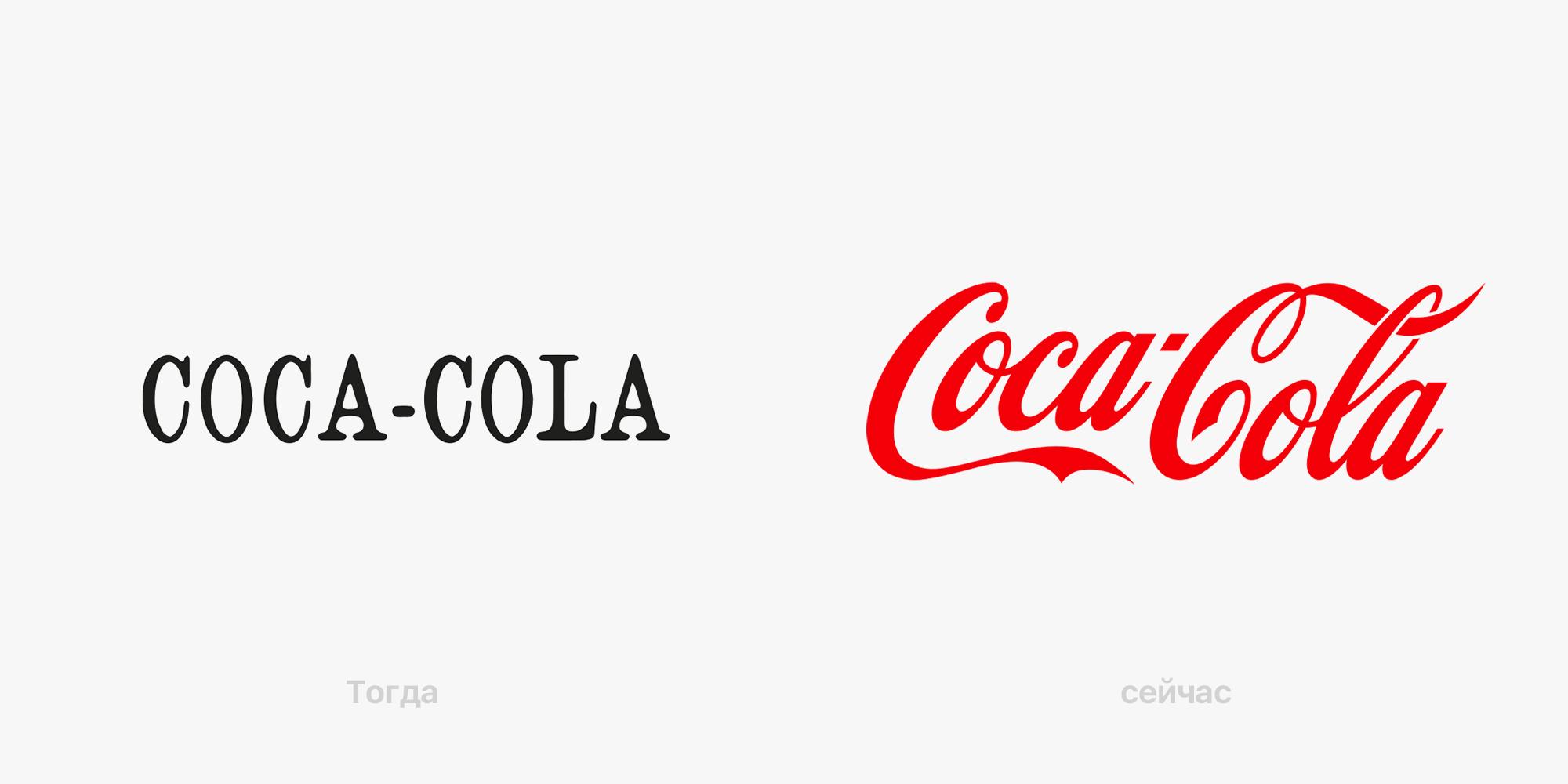 Слева — первый логотип Coca-Cola 1886 года, справа — актуальный вариант 2019 года