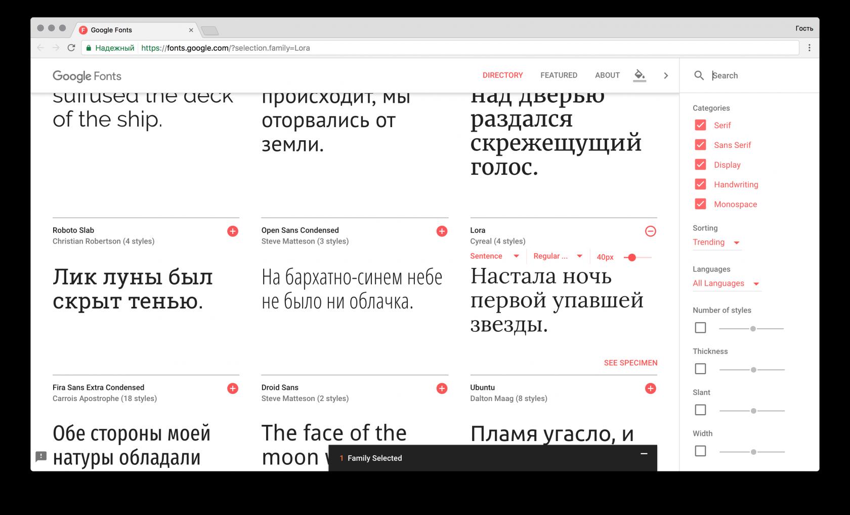 Google Fonts / Настройка шрифтов для проекта