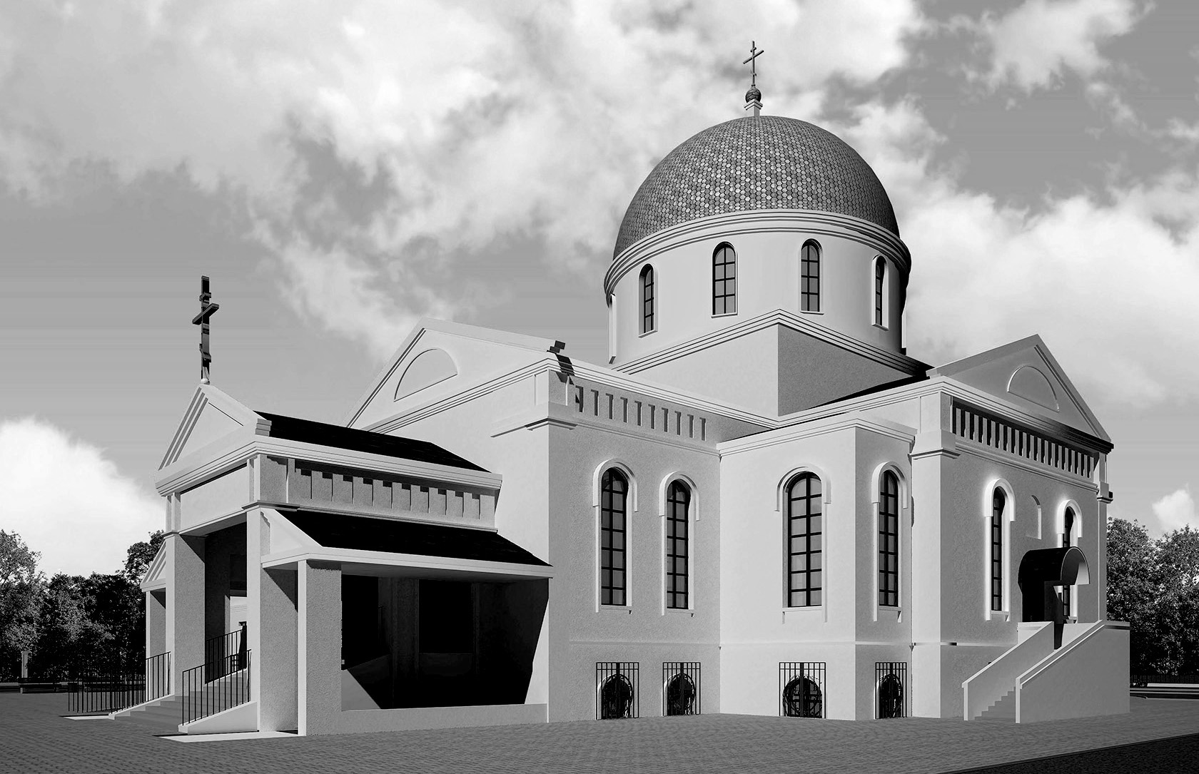 church architecture, church center, orthodox church project,, sacred architecture, byzantine church project