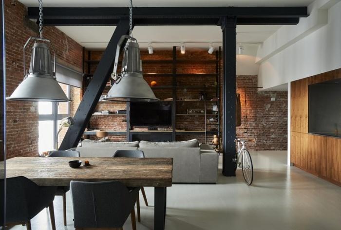 Индустриальный лофт в интерьере квартиры
