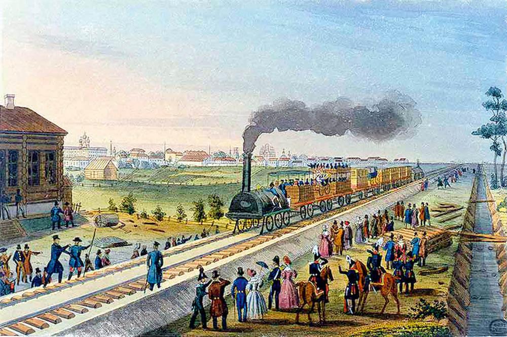 Карл Беггров гравюра «Поезд Царскосельской железной дороги» (1837)