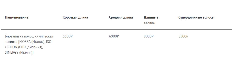 стоимость биозавивки в москве