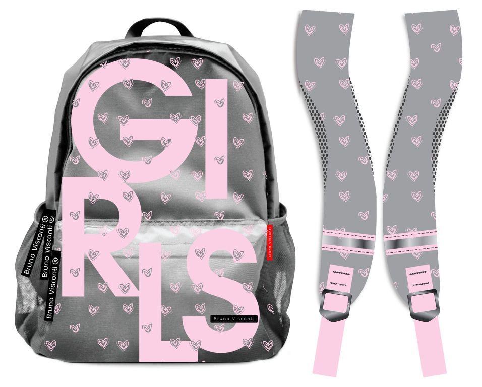 fd1311faa0c1 Рюкзак Bruno Visconti серии Teens для школьников 7-11 класса - Girls серый