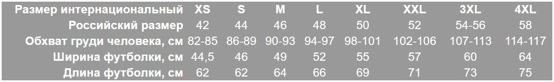 Таблица размеров для мужских светящихся футболок