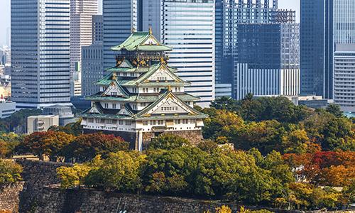 Осакский замок с красными листьями
