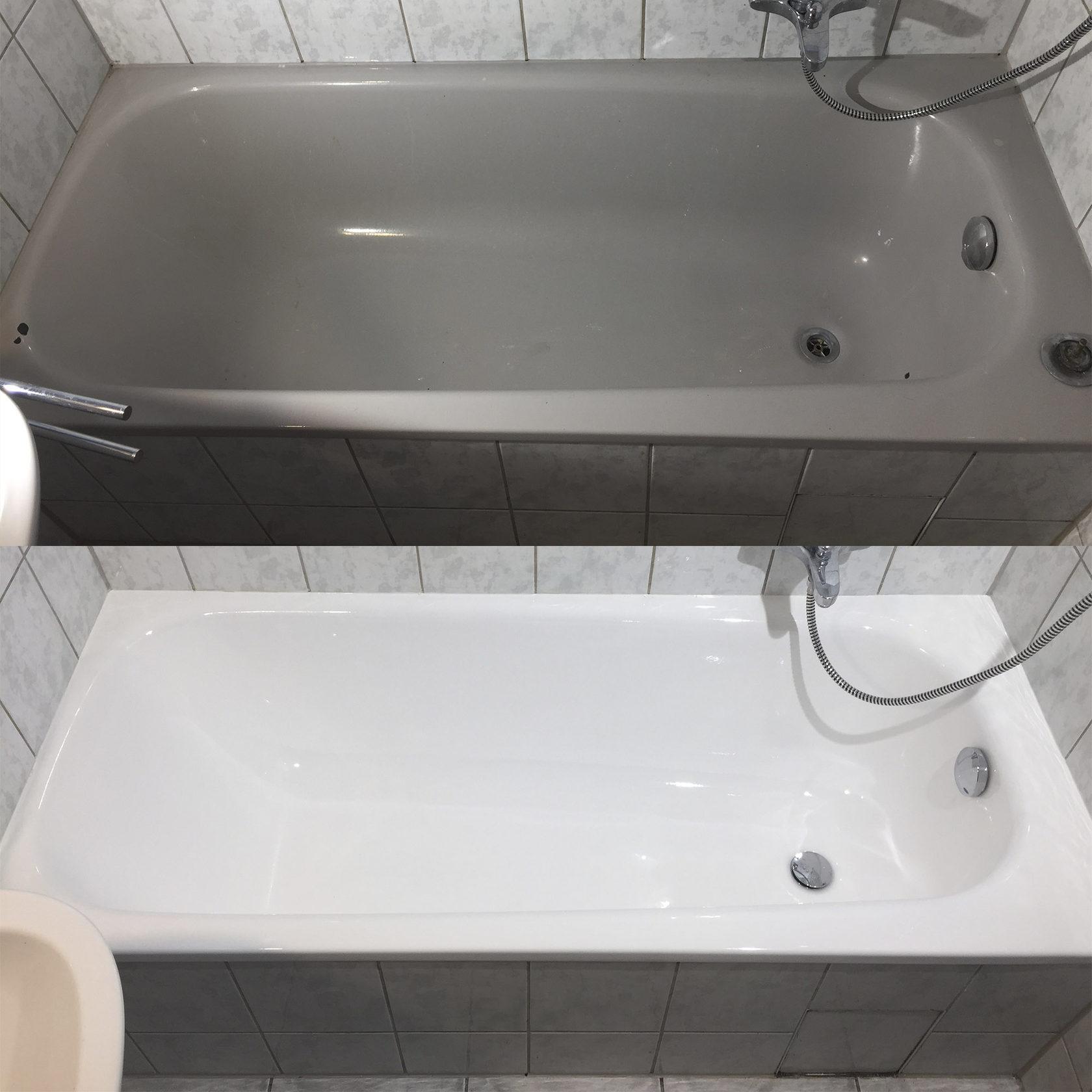 Badewannenrenovierung ohne Gerüche. Eine starke glatte ...