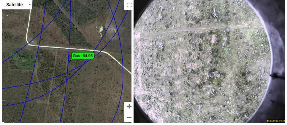 Detection map and picture from the pilot camera at the location of gas detection