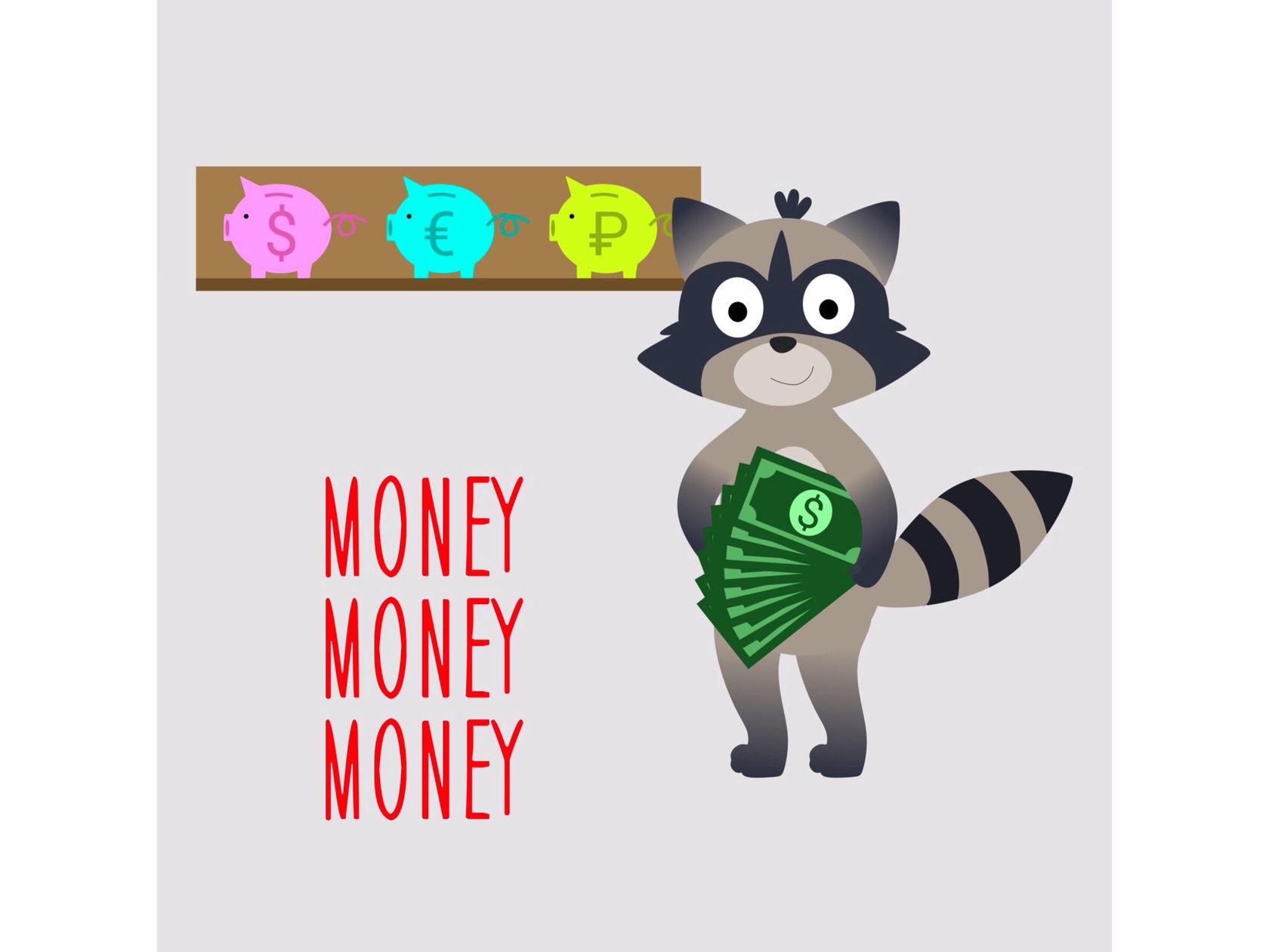 Енот считает деньги и учит математику