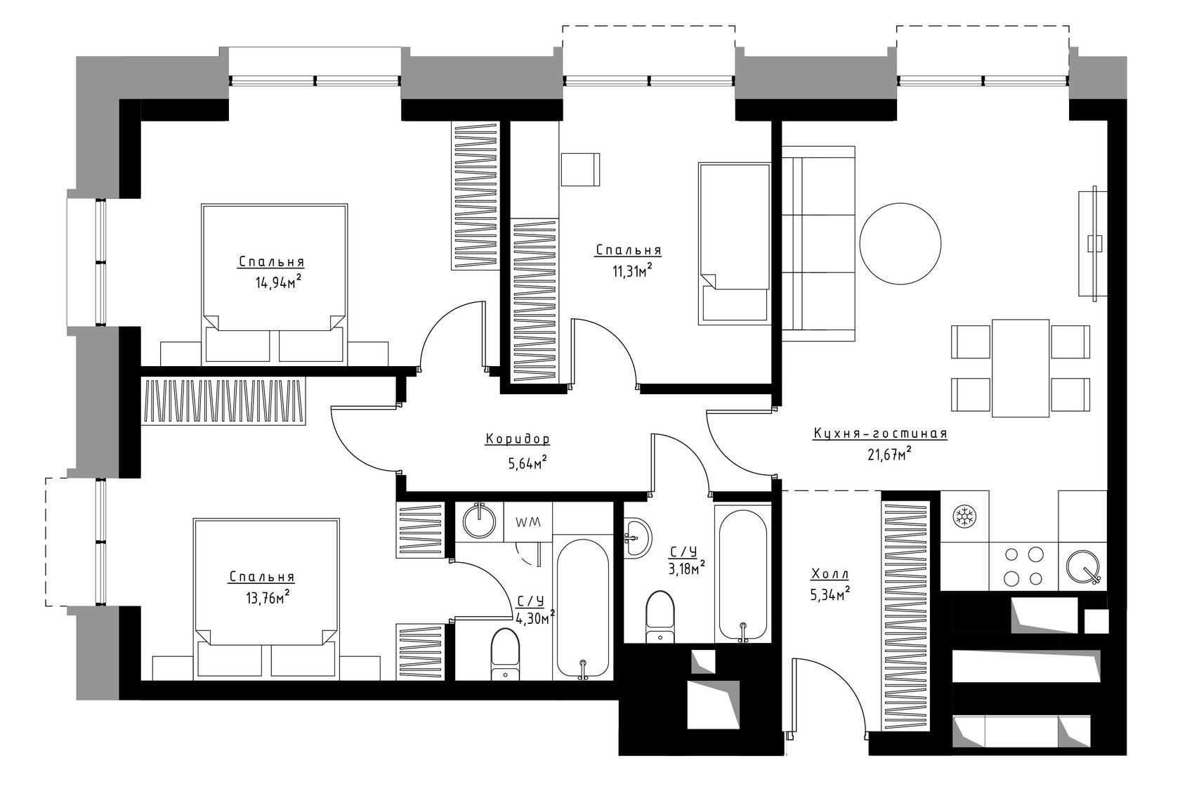 Планировка 3-комнатной квартиры в ЖК Метрополия