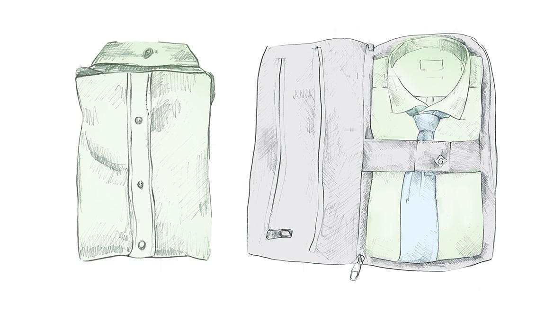 Складываем рубашку GANT, шаг 4 - финал, рубашка аккуратно сложена и готова для транспортировки