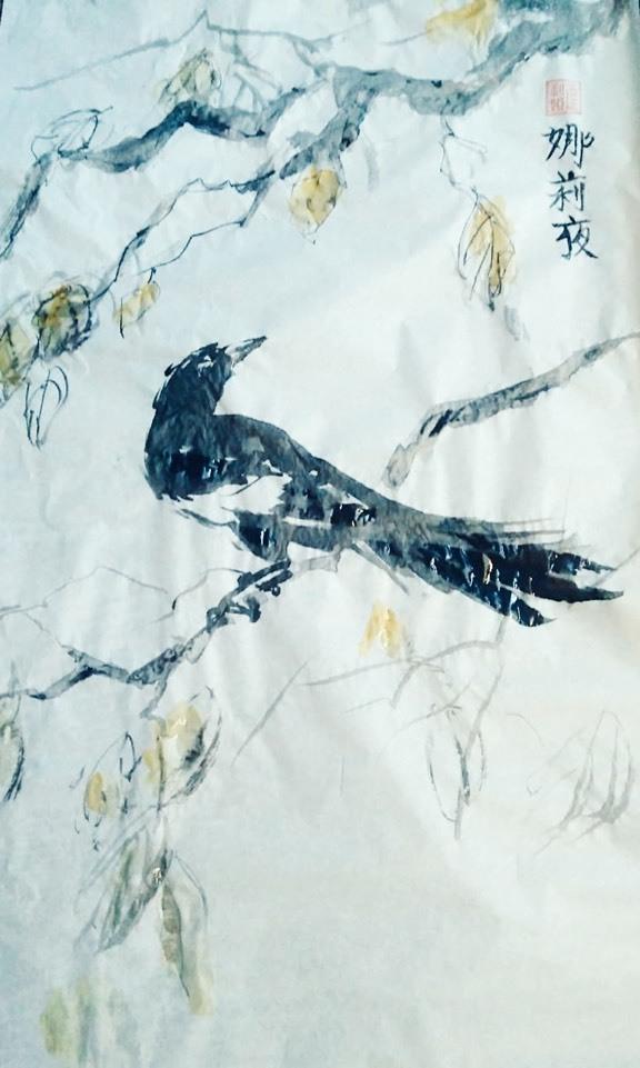 Верещагина Дарья / тема «Поэзия»: Лазоревый вечер, пора листопада… / тушь на кальке
